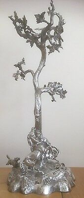 ANTIQUE ELKINGTON SILVER PLATE EPERGNE OAK TREE w/HORSE ATTACKED BY WOLVES c1854