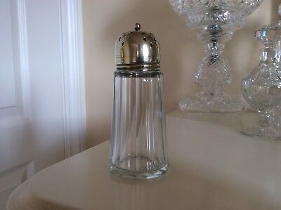 Vintage  Glass sugar shaker with Silver plated / Chrome  Top