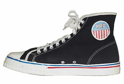 PRO Basketball Vintage High Top Keds Sneakers  Black Canvas Size Mens 9