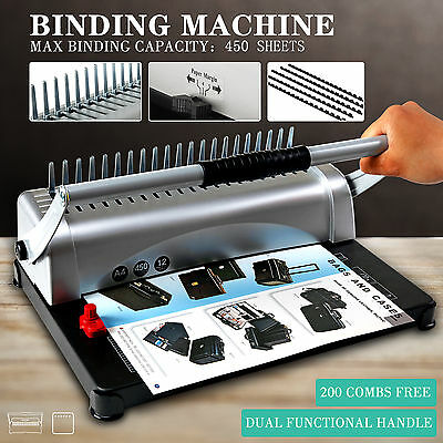 Adjustable 450 Sheet 21 Hole Paper Punch Binding Binder Machine W/200 Free Combs