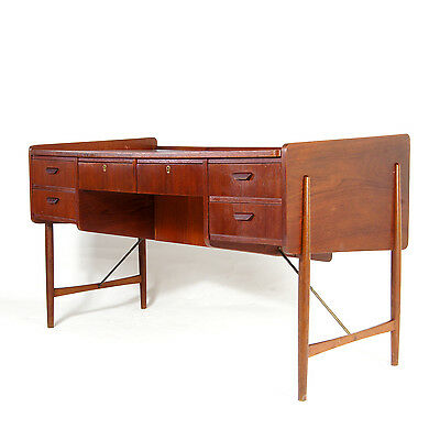 Retro Vintage Danish Large Double Pedestal Teak Office Desk Mid Century 60s 70s