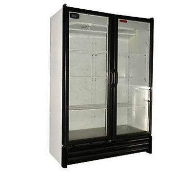 2 Full Door Glass Display Cooler Refrigerator 28 Cu 5 Year/1 Year Free Lift Gate