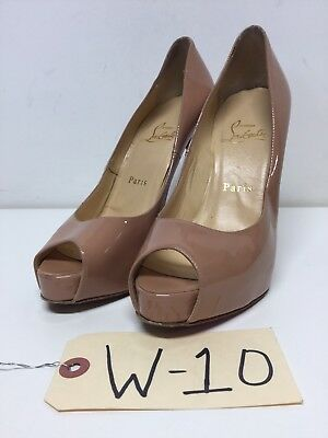 W10 Christian Louboutin New Very Prive Nude Patent Leather Pump Women's Sz 36.5M