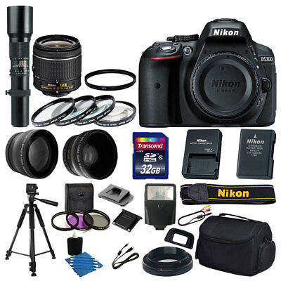 Nikon D5300 Digital SLR Camera 4 Lens Bundle: AF-P 18-55mm VR + 500mm Lens Kit