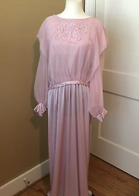 Vintage 70s Peasant Blush Dress Embroidered Dress Lilac Wedding Gown sz 8-10*