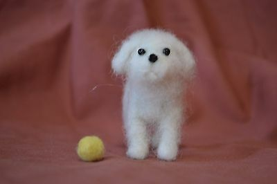 Needle Felted Playful White Poodle With Yellow Ball