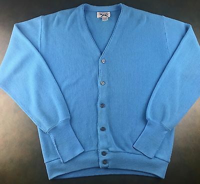 Vintage Mens L 70s JCPenney The Fox Blue Acrylic Button-Up Cardigan Sweater