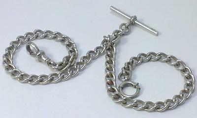 Victorian hallmarked Sterling Silver 34cm Double Albert Chain – c1900  (39g)