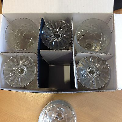 6 x Bohemia Hand Cut Crystal Glass Goblets  new in box