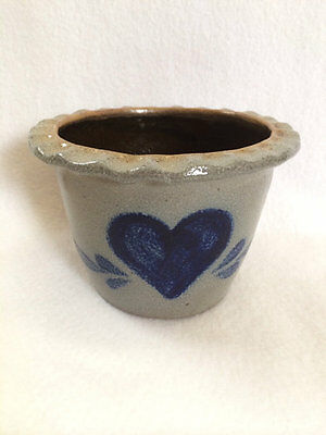 Rowe Pottery Works Vtg 1987 Scalloped Edge Cobalt Blue Heart Pot Salt Glazed