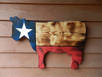 Large Wood Texas Flag Cow Wooden Wall Art Rustic Old Reclaimed Lumber