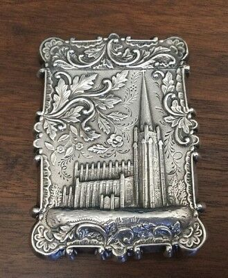 Old Coin Silver Calling Card Case - US Capitol And Trinity Cathedral
