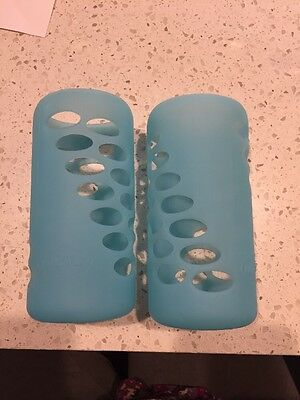 Dr. Brown's 8oz glass bottle sleeves cover blue lot of 2