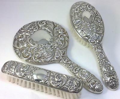 Vintage hallmarked Sterling Silver-backed Vanity Set (Mirror & 2 Brushes) - 1986