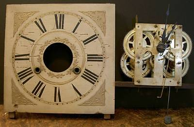 Early, Ca. 1850, Ogee Movement W/ Orig Wood Dial And Hands