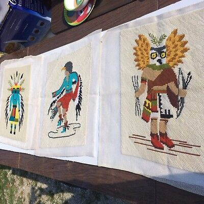 Vintage Native Indian Needle Point Wall Art Hopi Indian's