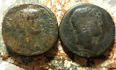 Lot of 2 Hadrian Sestertius Coins!  Both 32 mm, 25 g & 28 grams! EX Roma Auction