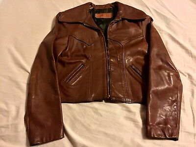 50S Nos Horsehide Deadstock Brown Leather Jkt.great Color,leather,cond.sm.34