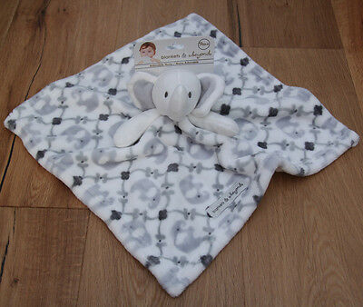 Blankets & Beyond Baby Boy Plush Security Blanket ~ Gray & White ~ Elephants ~
