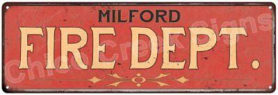 MILFORD FIRE DEPT. Vintage Look Metal Sign Chic Decor Retro 6184954