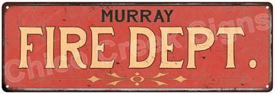 MURRAY FIRE DEPT. Vintage Look Metal Sign Chic Decor Retro 6184997