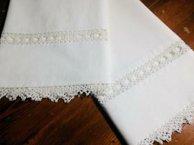 Vtg Pillowcase Set Cotton Needle Lace Tatting 4 Point Floral Scalloped 21x34 #2