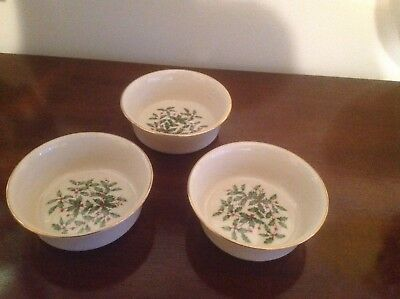 Lenox Special Holly Holiday Berry Bowls Set of 3 NICE!