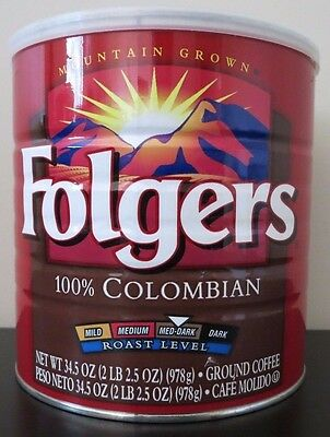Folgers Colombian Coffee 34.5 Oz Paper Wrapped Can w/Plastic Lid