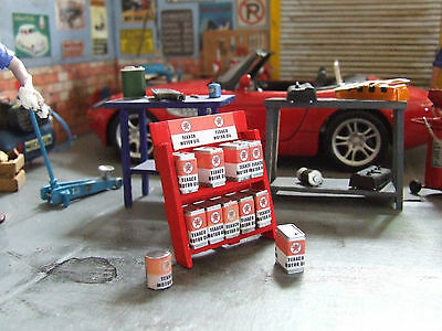 Display stand Texaco + 9 oil cans + 10 posters 1/24  Accessory for diorama