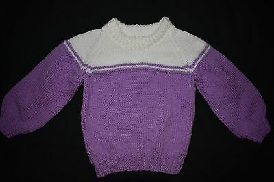 White and purple child's knitted jumper, size 2 - 3 - handmade
