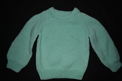 Mint Green child's knitted jumper, size 2 - 3 - handmade