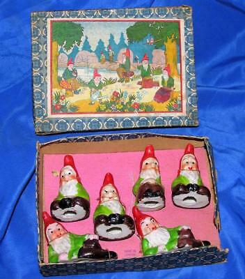 VTG XMAS PUTZ 1940'S SET  6 MINIATURE BISQUE PORCELAIN GNOMES ELVES (iob) JAPAN