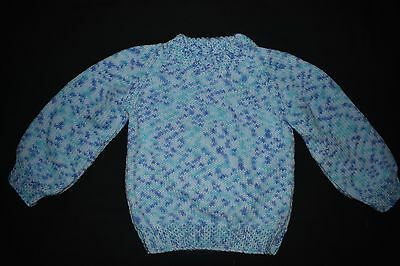 Blue Child's knitted jumper, size 2 - 3 - handmade