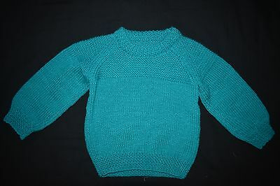Jade Green Child's knitted jumper, size 2 - 3 - handmade
