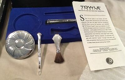 Vintage Towle Sterling Silver Exquisite Cosmetic Accessories Kit Mirror Brush +