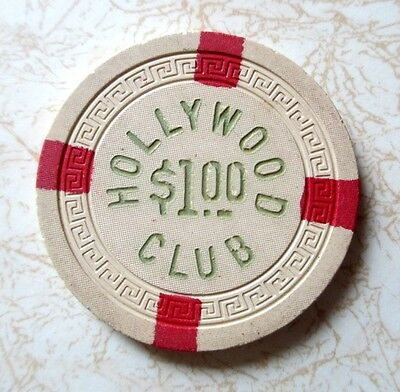 Obsolete, Hollywood Club $1.00 Casino Chip, Excellent