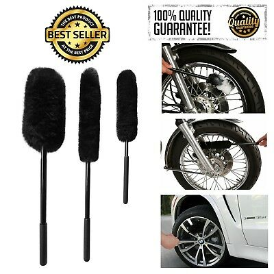 3Pcs Wheel Brushes Cleaning Brush Woolies Detail Cleaner Tool Scratch-Free Black