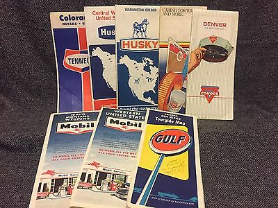 Vintage Lot of 8 Gas Station Road Maps Vg-Ex+ Great Collectible 1960's-70's