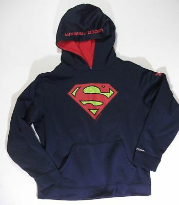 UNDER ARMOUR STORM navy Superman HOODIE SWEATSHIRT youth YLG Large