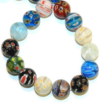 """G4252L2 Assorted Color Multi-Flower Millefiori 13mm Round Glass 26 Beads 13"""""""