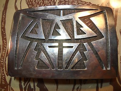 Signed Chalmers Day Hopi Sterling Silver Belt Buckle Kachina Forehead