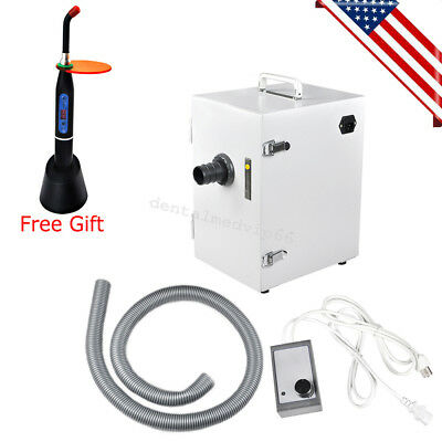 Portable Dental Digital Dust Collector Vacuum Cleaner machine + curing light USA