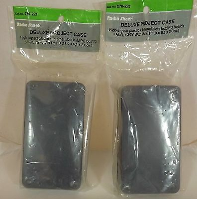 """Radio Shack (2) Deluxe Project Cases,High Impact Plastic 4 5/16""""x2 3/8""""x1 13/16"""""""