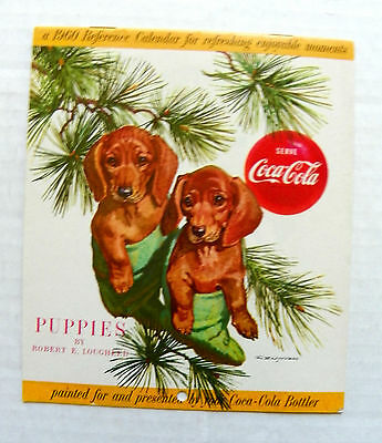 "1959 ""SERVE COCA-COLA ~ PUPIES BY ROBERT E. LOUGHEED"" 15 Pgs REFERENCE CALENDAR"