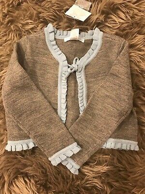 Janie and Jack Girls Gray Wool Blend Sweater Front Tie Ruffle Trim 3T NWT