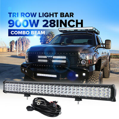 """3-ROW 28inch 900W LED Light Bar Spot Flood Combo Offroad Truck 4WD UTE Jeep 30"""""""