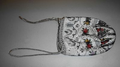 Antique Glass Bead Miser Purse White With Multi Colors Flowers Drawstring