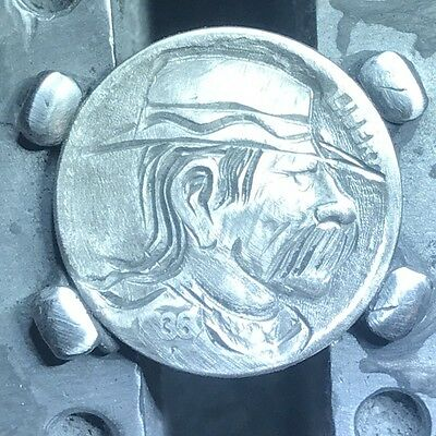 "1936 Hand Carved Original Hobo Nickel One Of A Kind! ""Uncle Rook"""