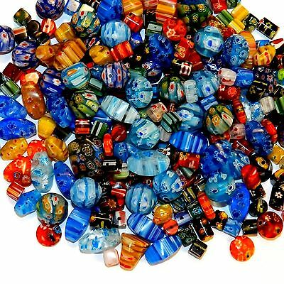 GXL4443L Assorted Color Mixed Shape 4mm - 20mm Millefiori Flower Glass Beads 8oz