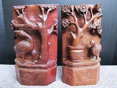 Pair of Vintage Chinese Hand-Carved Wood Bird & Flower Bookends